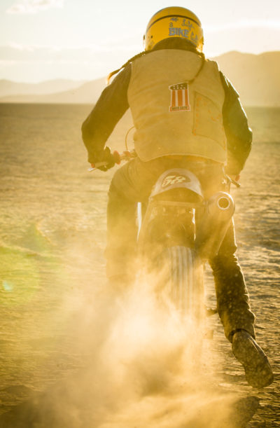 On October 20th 2014 we shoot with Drake McElroy (USA) and Thor (USA) from CC Motorcycles on the Black Rock Dry Lake (which is famous for the Burning Man Festival) in Nevada (USA) for Motorcyle Mini Series on redbull.tv  /  Usage for editorial use only // Please go to www.schran.net/copyright for further information. //
