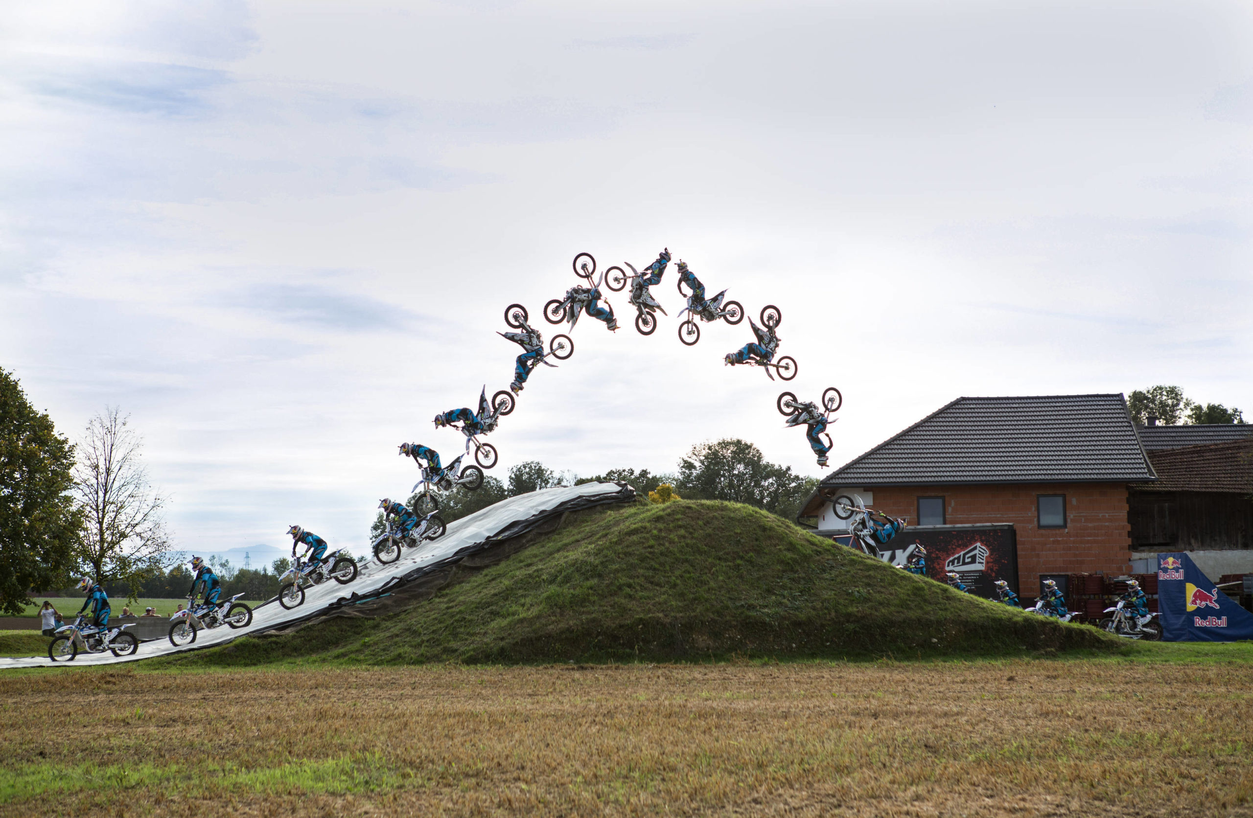 Luc Ackermann of Germany performs a Double Flip as the youngest rider ever at the Jerry Meyer FMX Compound in Piberbach, Austria on October 5th, 2017.  // Oliver Schran/Red Bull Content Pool // AP-1TS47YC1H2111 // Usage for editorial use only //